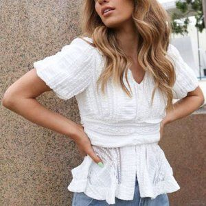 White Lightweight Lace Look Short Sleeve Spring